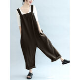 Women Sleeveless Strappy Cotton Long Jumpsuit