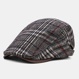 Collrown Men Classic Casual Outdoor Plaid Stripe Pattern Patchwork Beret Hat Forward Hat
