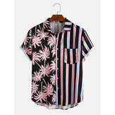 Men Coconut Tree Colorful Stripe Mixed Print Short Sleeve Casual Holiday Shirts