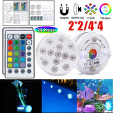 2PCS/4PCS LED Underwater Light Waterproof RGB Swimming Pool Lamp + 24Keys IR Remote Control