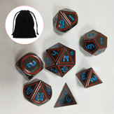 7Pcs Set Antique Metal Polyhedral Dices DND RPG MTG Role Playing Game