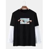 Мужская фигура рука Sky Графика Хлопковые повседневные футболки с рукавами доктора
