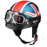 オートバイオープン3/4ゴーグル付きハーフフェイスヘルメットサンバイザー調整可能