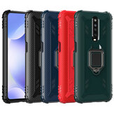 Bakeey for Xiaomi Redmi K30 Case Carbon Fiber Pattern Armor Shockproof Anti-fingerprint with 360° Rotation Magnetic Ring Bracket PC Protective Case Non-original