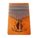 17 Key Mahogany Kalimba Veneer Mini Thumb Piano Keyboard Carved Tone Instrument