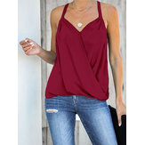 Casual Burgundy Halter V-neck Sleeveless Front Cross Elegant Tank Top