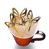 KCASAŁyżeczkadoherbatyzestopu aluminium Łyżeczka do kawy ze stopu aluminium Łyżeczka do kawy w kształcie trójwymiarowej motyli Elegancka łyżka do mieszania