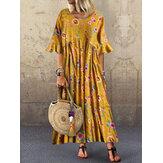 Yarım Kol O-Boyun Pileli Çiçek Baskı Vintage Maxi Elbise