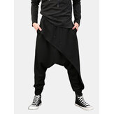Män Casual Drape Drop Crotch Harem Hip Hop Byxa Baggy Cross-Pants