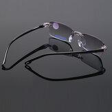 Unisex Foldable Frameless Diamond Trimmed Anti-Blue Light Blue Film Reading Glasses Presbyopic Glasses