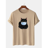 Fashion Cartoon Cat Mask Printing Short Sleeve O-Neck T-shirts