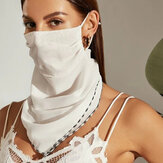 Women Pure Color Breathable Ear-mounted Scarf Protection Sunscreen Face Masks Neck