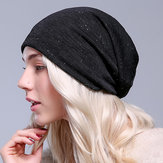 Women Autumn Warm Beanies Cap Solid Color Flexible Hip-hop Skullies Bonnet