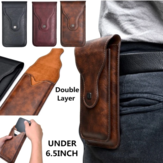 Men Faux Leather Universal Vertical 6.5inch Phone Belt Clip Holster Waist Bag