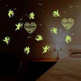 キューピッドの壁のステッカーは、暗い光の蛍光ベビーの壁のステッカーのホームデコレーションデカールで光る