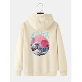 MensJapansk stil Print Drop Shoulder Kangaroo Pocket Long Sleeve Hoodies