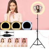 LED Ring Light Dimmable Selfie Lamp Tripod Stand Phone Holder USB Powered for Vlog YouTube Tiktok VK Makeup Video