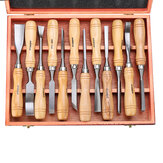 12PCS Wood Turning Carving Tool Set Chrome Vanadium Steel Wood Carving Chisels Blade Woodworking Tool