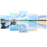 Pintura de parede de Spray de alta definição Wulian Lake e decorações de paisagem de pavilhão de madeira murais