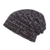 Mens de impresión de la letra de algodón Beanie Cap ocasional suave otoño invierno cálido de punto Sombrero