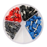 200Pcs Copper Insulated Terminal Grey 0.75mm² Red 1.0mm² Black 1.5mm² Blue 2.5mm²