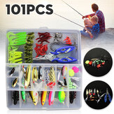 ZANLURE 101 Pcs Isca De Pesca Spinners Plugs Colheres Soft Isca Pike Truta Salmão + Box Set