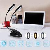 Dubbele koppen 10 LED Clip Tafellampjes 3 Modi Dimmen Batterij aangedreven bureaulamp voor lezen werken