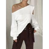 Camicetta elegante casual casual a spalla fredda con bordo irregolare per le donne