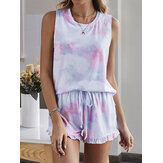 Tie Dye Women Colorful Gradient Sleeveless Drawstring Ruffles Loose Pajama Set