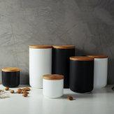 セラミック収納ジャー木製ふたティーコーヒーシュガーキャニスターキッチンコンテナ