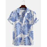 Feuilles de pin Imprimé 100% coton à manches courtes poche poitrine chemises décontractées