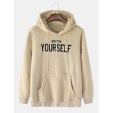 Mens Letter Embroidered Kangaroo Pocket Fluffy Long Sleeve Hoodies