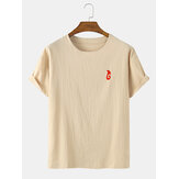 Red Embroidery Cotton Casual Round Neck Short Sleeve T-Shirts