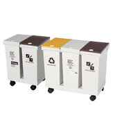 24/36L Recycle Trash Can Rubbish Bin with Wheels Waste Garbage Storage for Home Kitchen