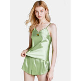 Satin Spaghetti Straps Fruits Embroidery Backless Pajamas