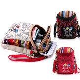 Retro Chinese National Style Double-deck Mini Shoulder Bag Handbag For Phone Under 6.0 Inch