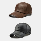 2PCS Collrown Men PU Leather Vintage Casual Personality Soolid Color Baseball Cap With Woven Pattern