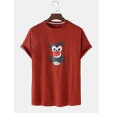 Camisetas transpirables de algodón de manga corta con estampado de cara de dibujos animados divertidos