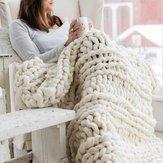 WarmeWinterLuxusHandarbeitGehäkelteBett Gestrickte Sofa Abdeckung Decke 5 Farben Dicken Faden Decke Gestrickte Quilt Home Geschenk