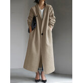 Women Plain Fleece Turn-Down Collar Casual Long Trench Coat With Side Pockets