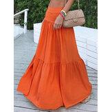Повседневная свободная высокая талия плиссирующая боковая молния длинные юбки для Женское
