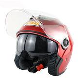 Motocicleta Scooter Meia Face Capacete Dupla Lente Equitação Proteção Respirável Anti-UV