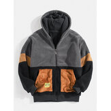 Mens Sherpa Fleece Patchwork Zip Up Cotton Casual Hooded Jacket With Pocket