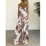 Women Sleeveless Floral Print Button Loose Cotton Vintage Jumpsuits With Side Pocket