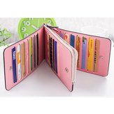 Women Microfiber Leather Multi Card Slots Wallet Card Holder Phone Bag