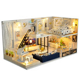 Wooden Time Shallow Shadow DIY Handmade Assemble Miniature Doll House Kit Toy with Furniture 6 LED Lights Music and Glass Dust Cover for Gift Collection