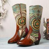 SOCOFY Women's Splicing Tribal Pattern Zipper Western Cowboy Boots