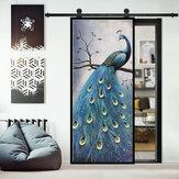 PVC Living Room Door Stickers Wallpaper Poster Peacock Waterproof Home Decoration