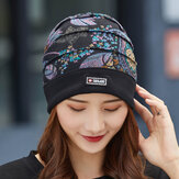 Women Cotton Floral Pattern Casual Fashion Breathable Outdoor Pleats Keep Warm Turban Beanie