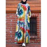 Vintage Floral Print Tie Dye Contrast Color Kaftan Tunique A-line Robe musulmane à plusieurs niveaux